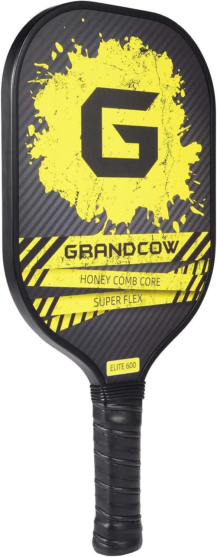 GRANDCOW Pickleball Paddle Elite 600 Graphite Carbon Fiber Face Honeycomb Composite Core Pickleball Racket with 4 Pickleballs