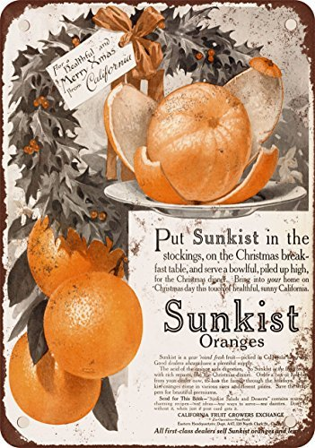Metal Sign 1915 Sunkist Oranges for Christmas Vintage Look Reproduction