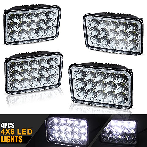 4X6 Projector Lens Rectagular Sealed Beam Headlight Assemblies Replace Semi Hid Xenon Halogen Bulb Headlamps Freightliner Fld120 Peterbilt 379 Kenworth T600 W900 Chevy C10 K10 S10 H4651 H4656