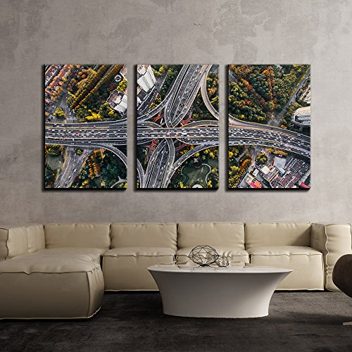 wall26 - 3 Piece Canvas Wall Art - Eagle Eye View of Crisscross Overpass,Cityscape - Modern Home Decor Stretched and Framed Ready to Hang - 24