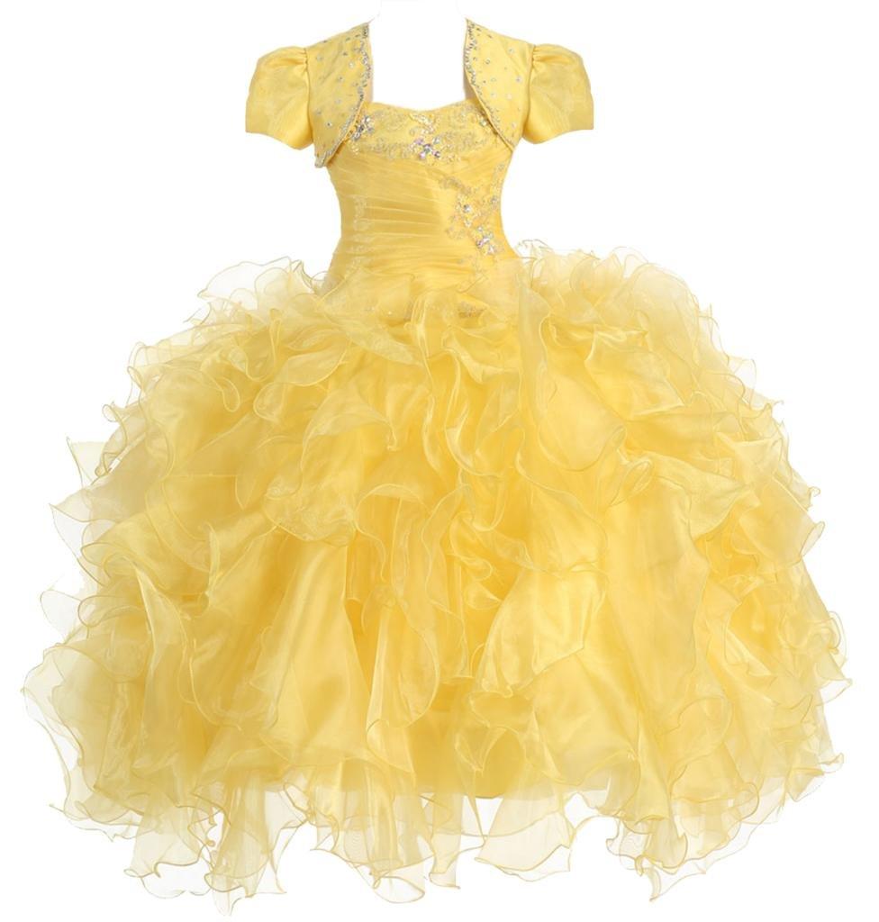 AkiDress Multi Ruffled Organza Dress with Bolero Jacket for Big Flower Girl Yellow 12