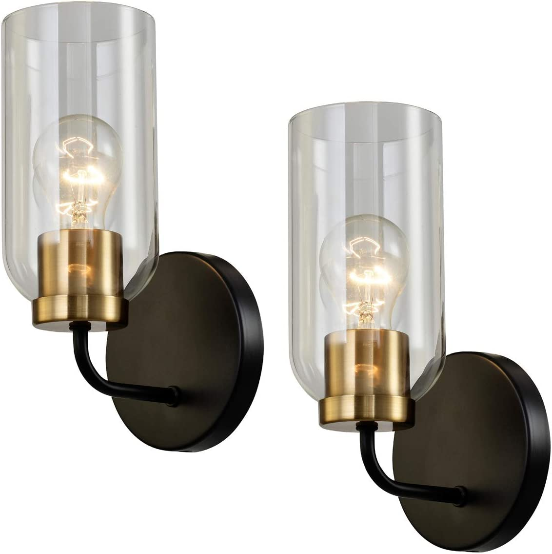 Vintage Wall Sconce with Clear Glass Shade,Industrial Modern Bathroom Sconces Wall Lighting Glass,Stairway Lighting Indoor,Black and Gold Wall Lamps for Bedroom Hallway Living Room 2 Pack UL Listed