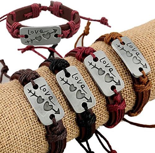 Miya® Exclusivo Vintage Valentin pulsera brazo Maduro, Glamour piel pulsera con corazón doble corazón, purpurina bolas y perlas, piel Tiempo de acero inoxidable, Vieja Style, para hombre mujer, forma