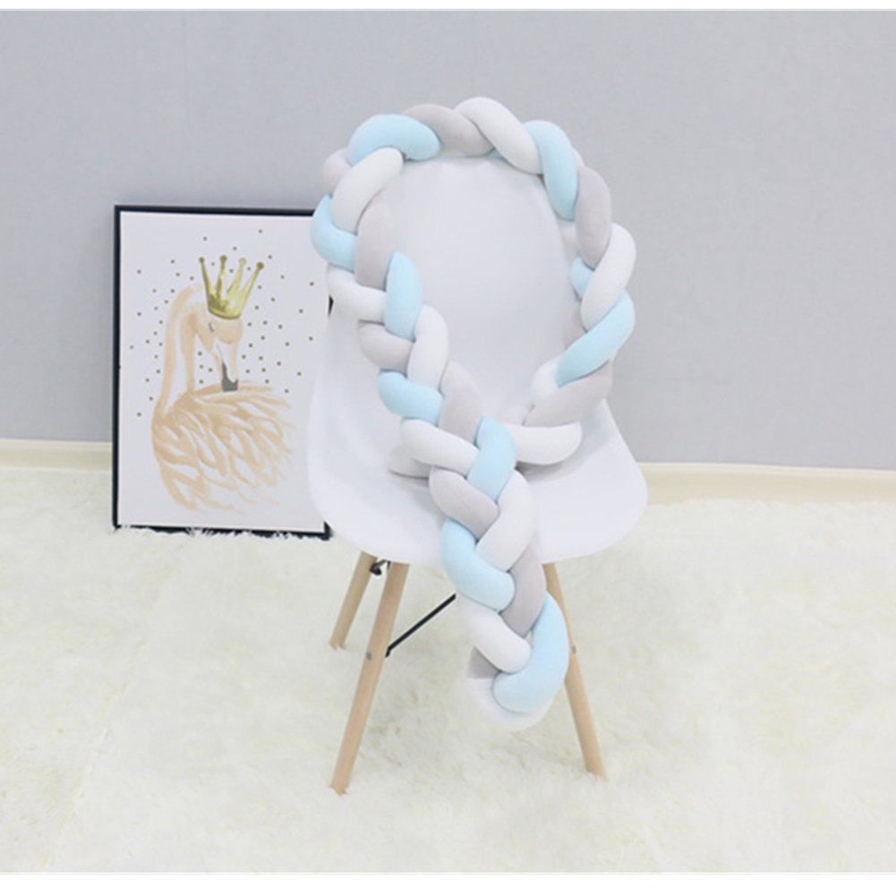 Baby Braided Crib Bumpers Long Knot Pillow Cushion,Nursery Bedding Cot Safety Fence Stroller Bumpers Room Decor (400CM, Grey-White-Yellow) Ruick