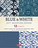 Arts & Crafts : Blue & White Gift Wrapping Papers: 12 Sheets of High-Quality 18 x 24 inch Wrapping Paper