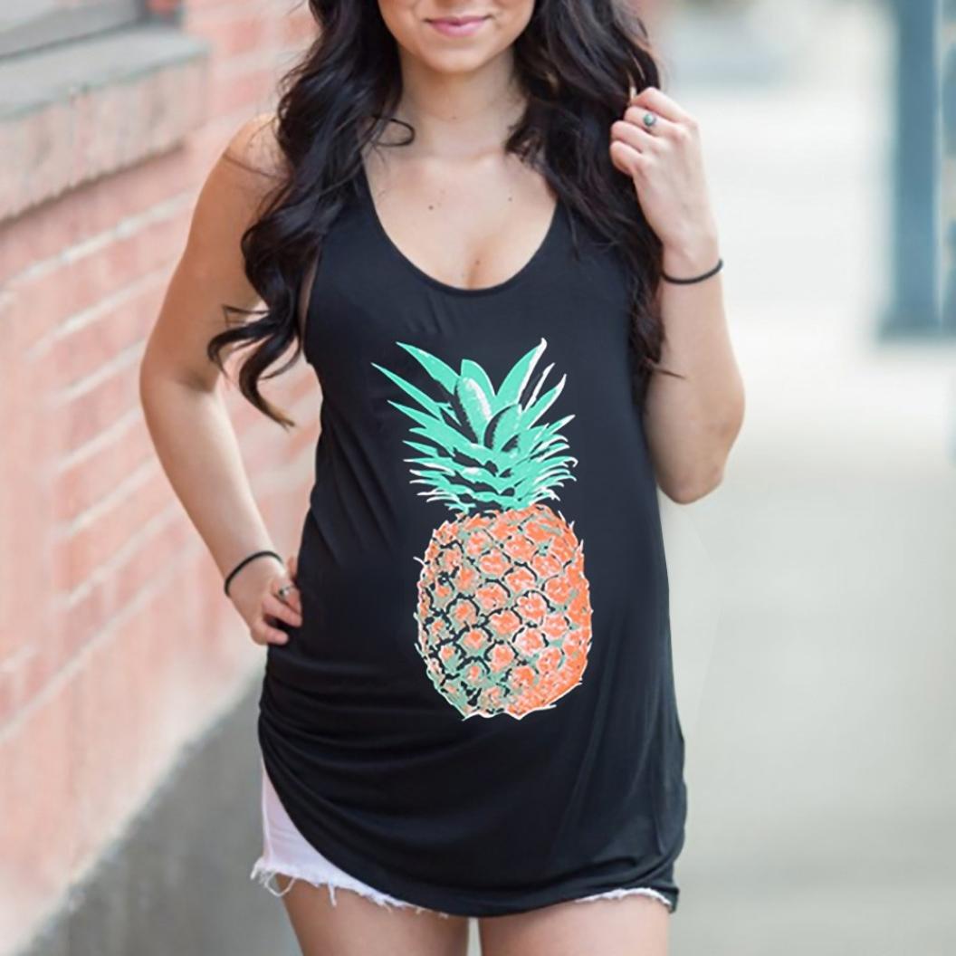 51095de782 Amazon.com   Sunshinehomely Womens Pregnant Blouse Fashion Pineapple Print  Sports Curved Hem Tank Top for Maternity T-Shirt   Sports   Outdoors