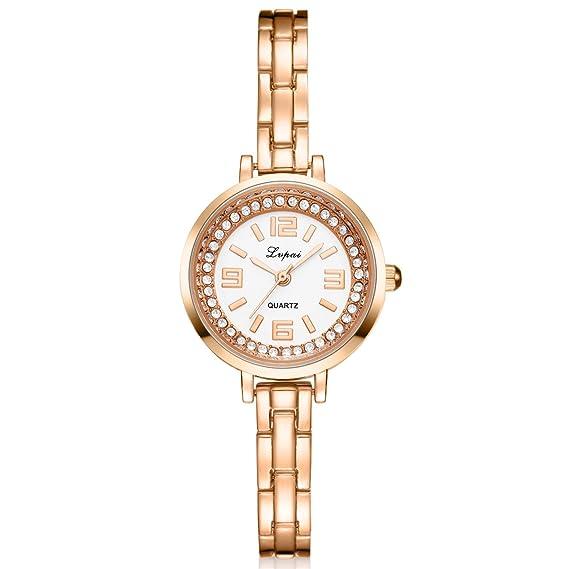 lvpai números arábigos pulsera de diamantes reloj de pulsera para mujer  analógico cuarzo P280  Amazon.es  Relojes 60790e450705