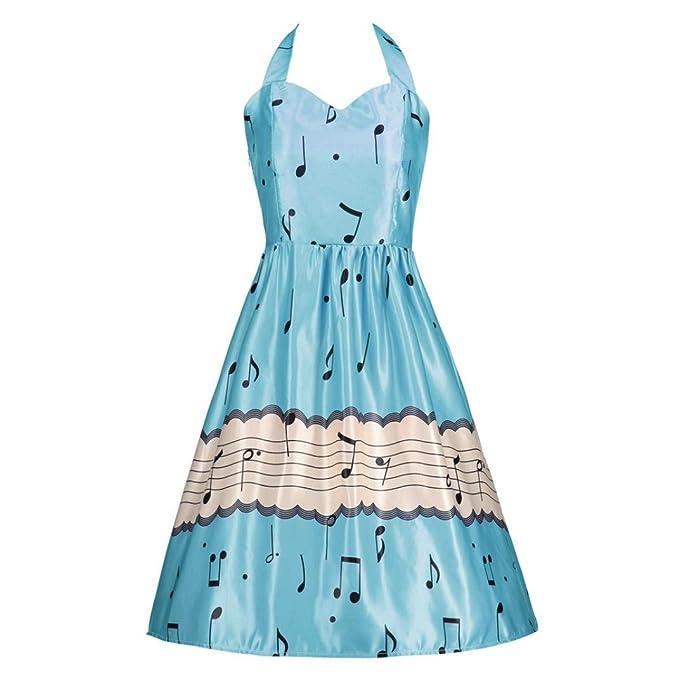 Retro Elegante  Kleid, Manadlian Damen Ärmellos Bezaubernd Retro Swing  Musik Kleid, Frau 449ac9366e