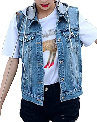 cd58452fe1441 Women Casual Button Up Slim Fit Denim Waistcoat Lapel Cowboy Vest Outwear  Washed Jeans Cardigan Blue 4XL  Amazon.co.uk  Clothing