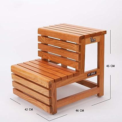 Outstanding Amazon Com Home Red Oak Step Stool Wooden Bathtub Stool 2 Machost Co Dining Chair Design Ideas Machostcouk
