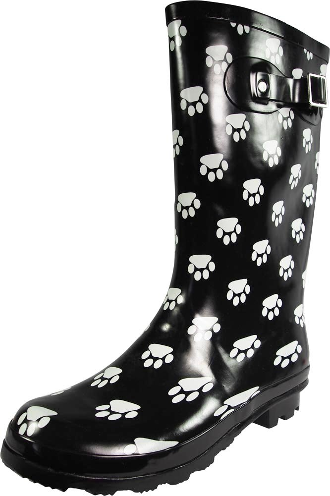 NORTY - Womens Hurricane Wellie Gloss Mid-Calf Paw Printed Rain Boot, Black, White 39203-9B(M) US
