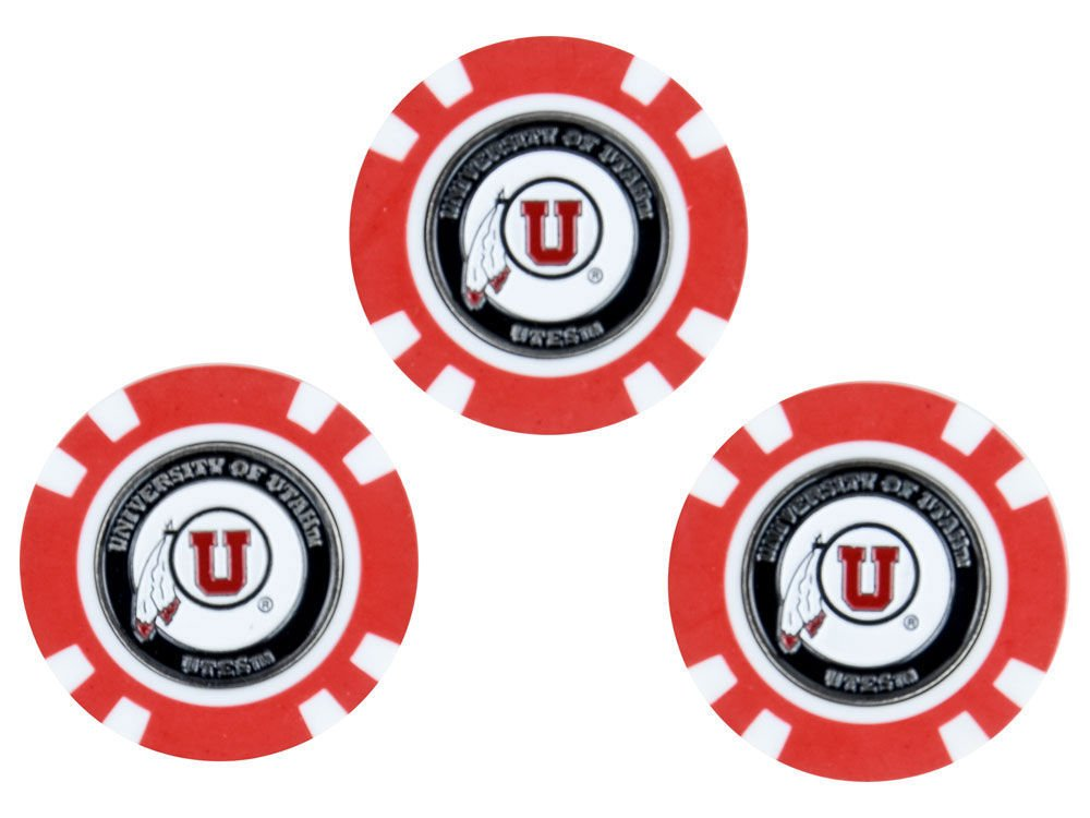 Team Golf NCAA Utah Utes Golf Chip Ball Markers (3 Count), Poker Chip Size with Pop Out Smaller Double-Sided Enamel Markers by Team Golf