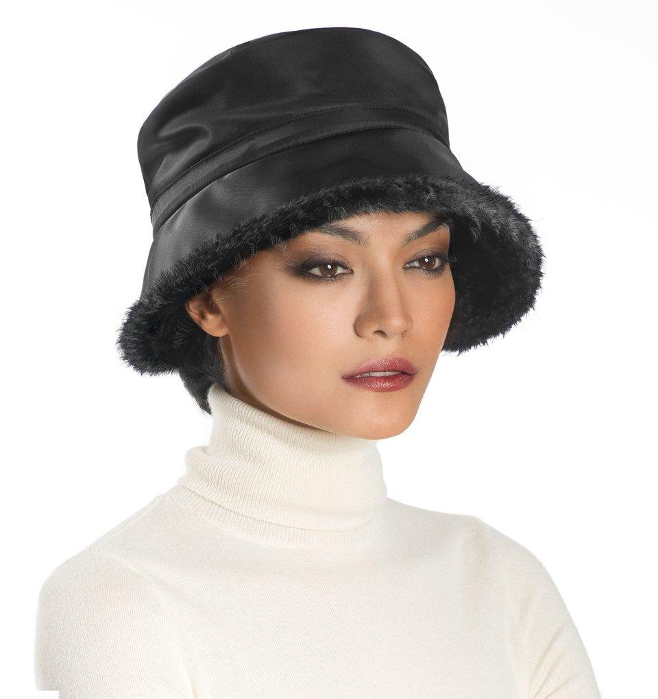 Eric Javits Luxury Fashion Designer Women's Headwear Hat - Nylon Cloche - Black