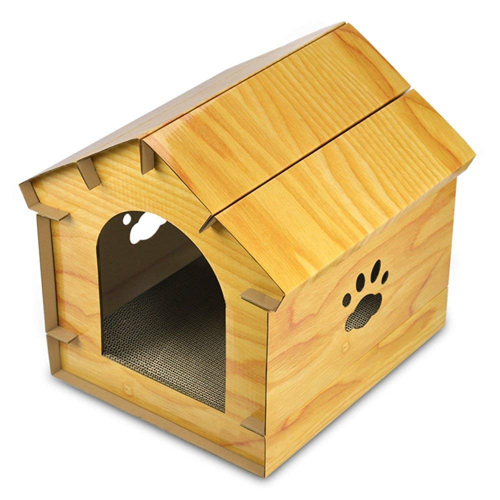 Yellow X&MX DIY Simulation Wooden Cat House Corrugated Cardboard Cat Gripper Green Durable Pet Supplies Predecting Furniture Keeping Cats Healthy,Yellow