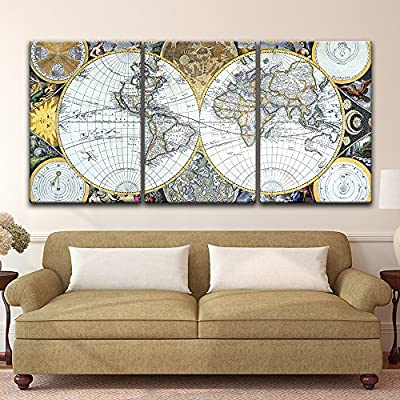 wall26 - 3 Panel Canvas Wall Art - Vintage World Map - Giclee Print Gallery Wrap Modern Home Decor Ready to Hang - 24