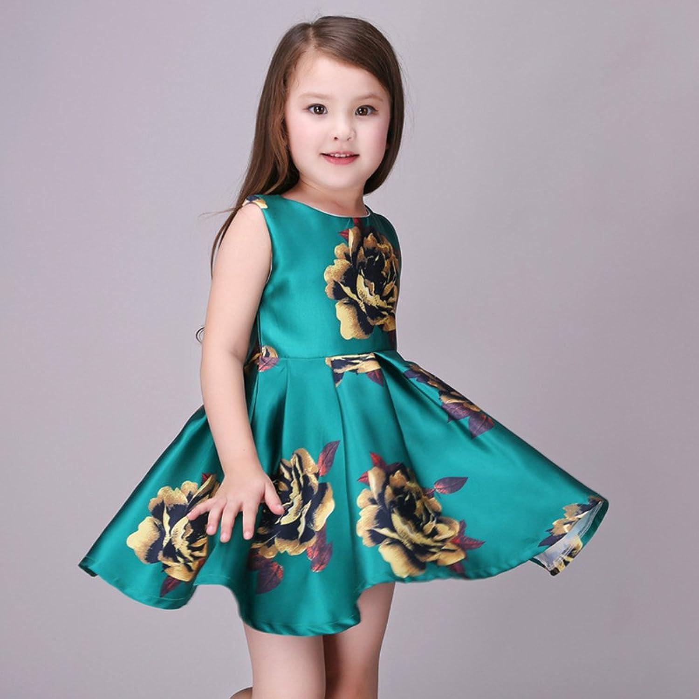 Amazon.com: Kidscool Little Girls Sleeveless Yellow Rose Print Green ...