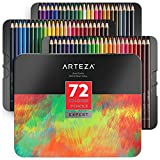 Arteza Professional Colored Pencils Set of 72 Colors, Soft Wax-Based Cores, Ideal for Drawing Art, Sketching, Shading & Coloring, Vibrant Artist Pencils in Tin Box