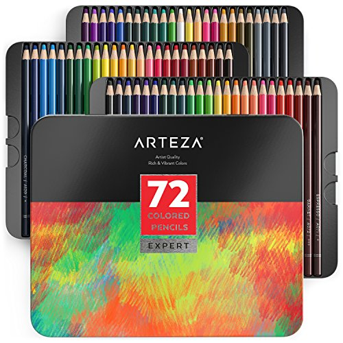 ARTEZA Professional Colored Pencils, Set of 72 Colors, Soft Wax-Based Cores, Ideal for Drawing Art, Sketching, Shading & Coloring, Vibrant Artist Pencils for Beginners & Pro Artists in Tin Box