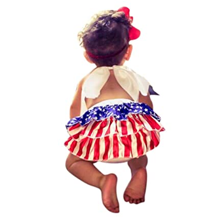 f68b2b8a5c0a Amazon.com   Goodtrade8 Patriotic 4th July Cute Baby Girl Flag Star Stripe  Backless Halter Romper Dress Jumpsuit Sunsuit Clothes Outfits (3 Months