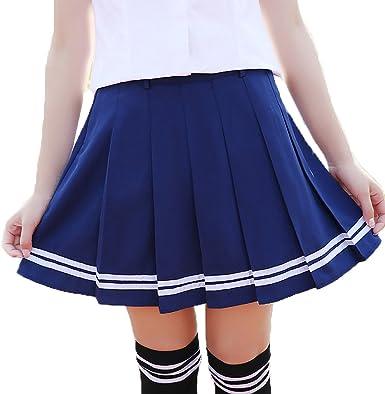 URSFUR Falda verano de color puro falda plisada de rayas rodilla ...