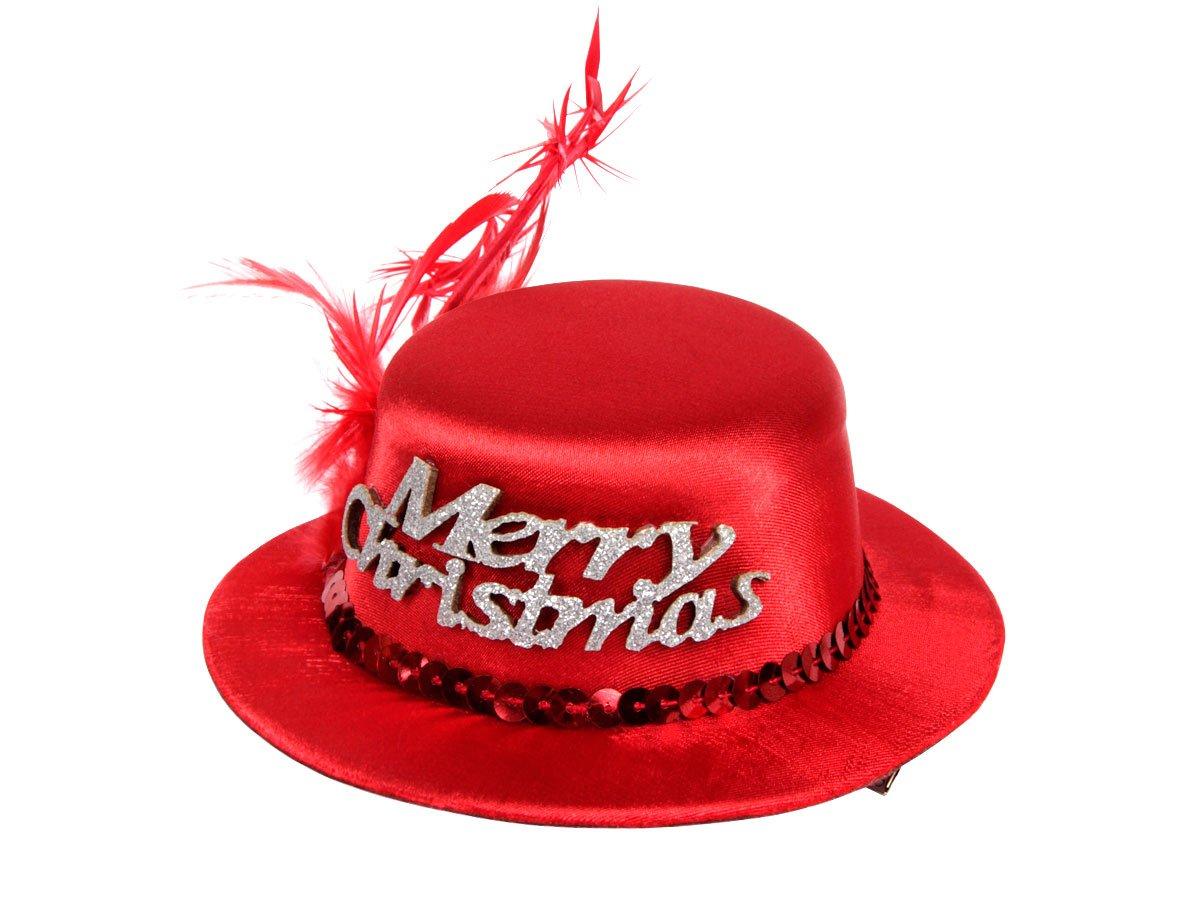 Animez votre tenue de soir/ée de cet /él/égant accessoire de cheveux Une touche de fantaisie et doriginalit/é wm-131 Diam/ètre: environ 13 cm hauteu Super mini chapeau de noel rouge avec 2 mini pince barrette de cheveux
