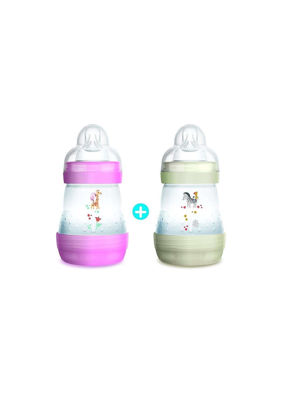MAM Anti-Colic Baby Bottle 160ml–0+ Month 1Flow Teat–Set of 2