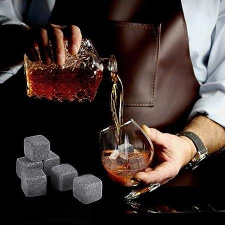 Juego de 9 piedras de whisky de granito con pinzas de acero inoxidable, bolsa de almacenamiento y posavasos elegantes de AYAOQIANG
