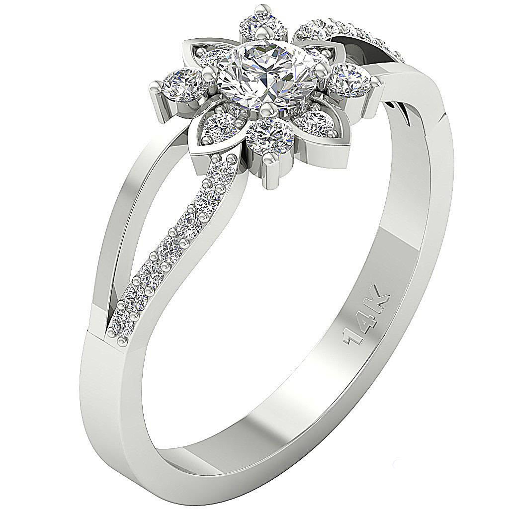 Designer 14Kt White Gold 1.40ct Cubic Zirconia Solitaire Wedding-Engagement Ring