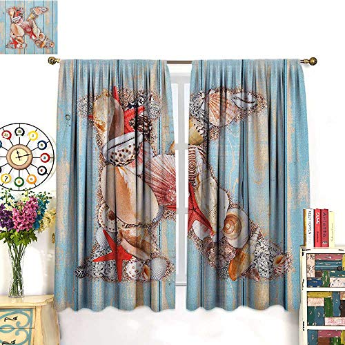 Letter KSolid Rod Pocket short Blackout DrapesLetter K Invertebrates Seashells Starfishes Summer Inspired PrintBedroom Curtains Blackout Curtain Insulating Energy Saving Solid Rod Pocket Blackout Dr ()