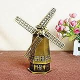 Vintage Dutch Windmill Building Decor Metal Craft Retro Antique Bronze Dutch Windmill Model Home Gifts