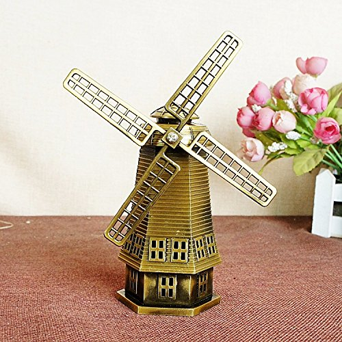 Vintage Dutch Windmill Building Decor Metal Craft Retro Antique Bronze Dutch Windmill Model Home Gifts by Supper PP