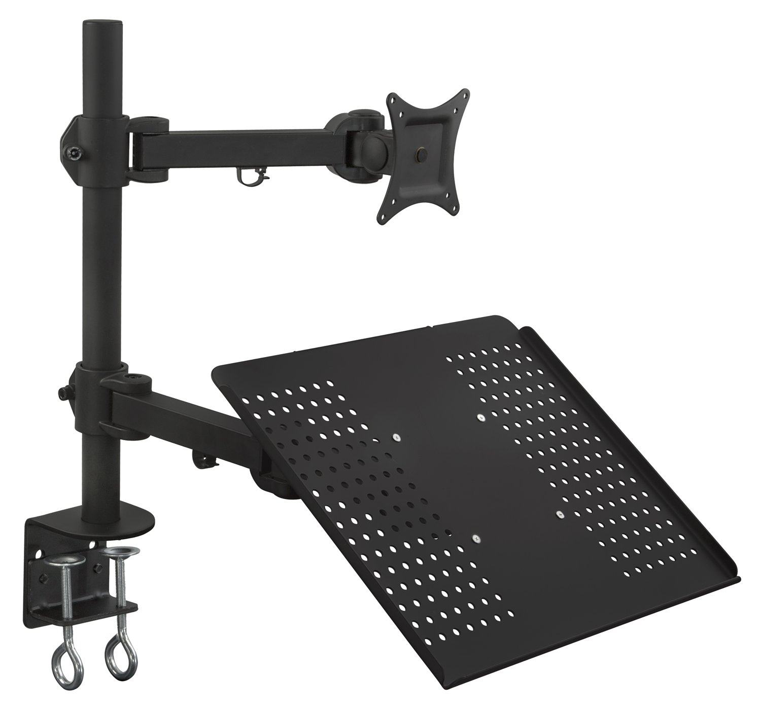 Mount-It! MI-3352LTMN Laptop Desk Stand and Monitor Mount, Full Motion Height Adjustable Holder, Fits up to 17 Inch Notebooks, VESA 75, 100 Compatible with 22, 23, 24, 27 inch Screens, Carries 44 Lb by Mount-It! (Image #1)