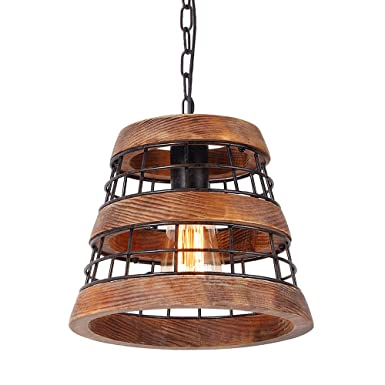 Anmytek Wood and Metal Chandelier Iron Net Frame Rustic Chandelier Lighting Metal Pendant Light Retro Ceiling Light or Edison Vintage Hanging Light Fixture 1-Light P0021