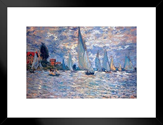 Poster Foundry Claude Monet Les Barques Matted Framed Wall Art Print 20×26