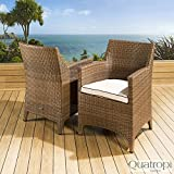 Pair of Luxury Garden Outdoor Dining Chair chairs Brown Rattan / Cream