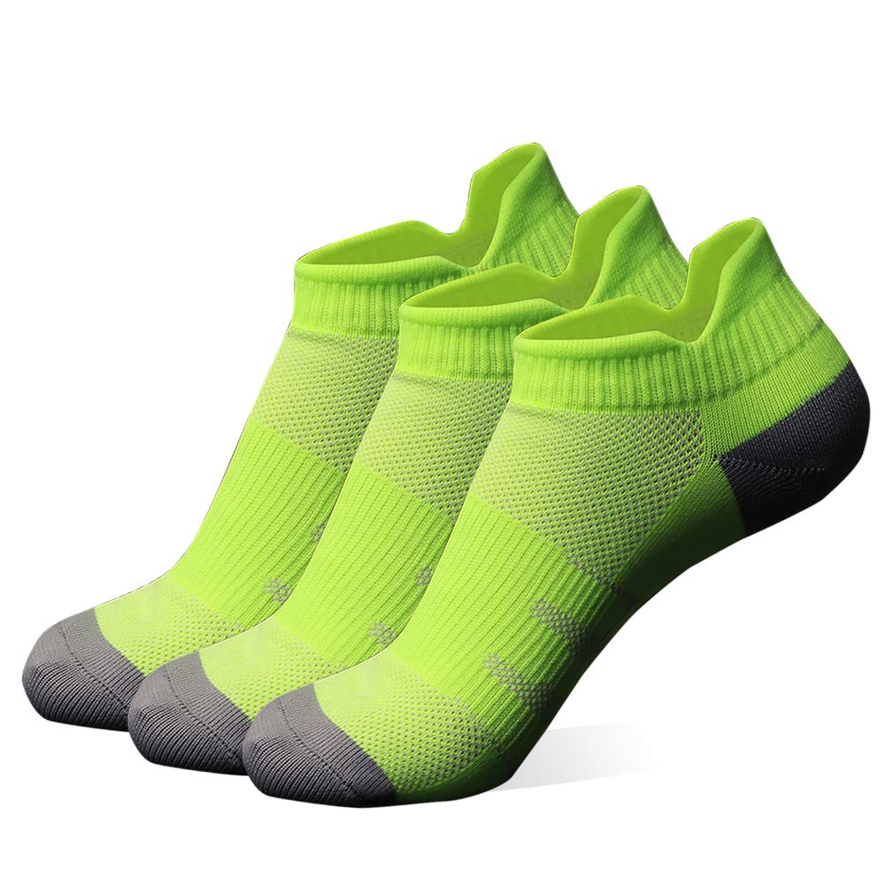 diwollsam Low Cut Running Socks Women, Girls Dry-fit Breathable Hidden Support Hiking Walking Cycling Athletic Socks Tab(3 Pairs, Fluorescent Green, S) by diwollsam