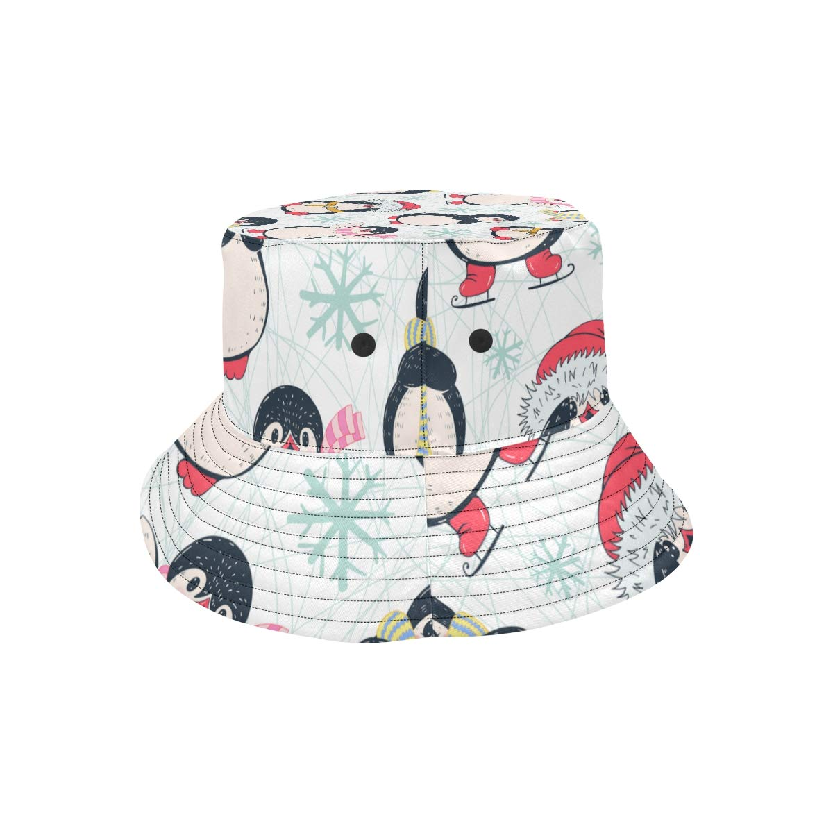 Women and Men with Customize Top Packable Fisherman Cap for Outdoor Travel Teens Winter Cute Penguin Snowflake New Summer Unisex Cotton Fashion Fishing Sun Bucket Hats for Kid
