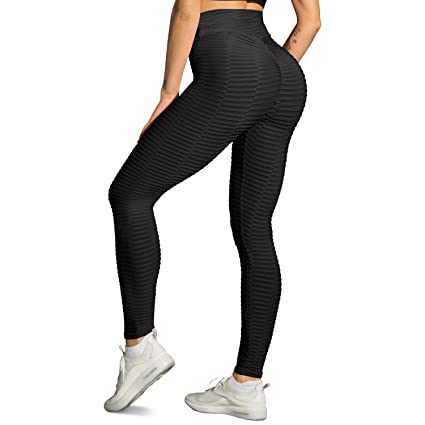 e2eb890434808 DCCDU Women's High Waist Textured Yoga Pants Tummy Control Ruched Butt  Lifting Stretchy Workout Leggings Booty