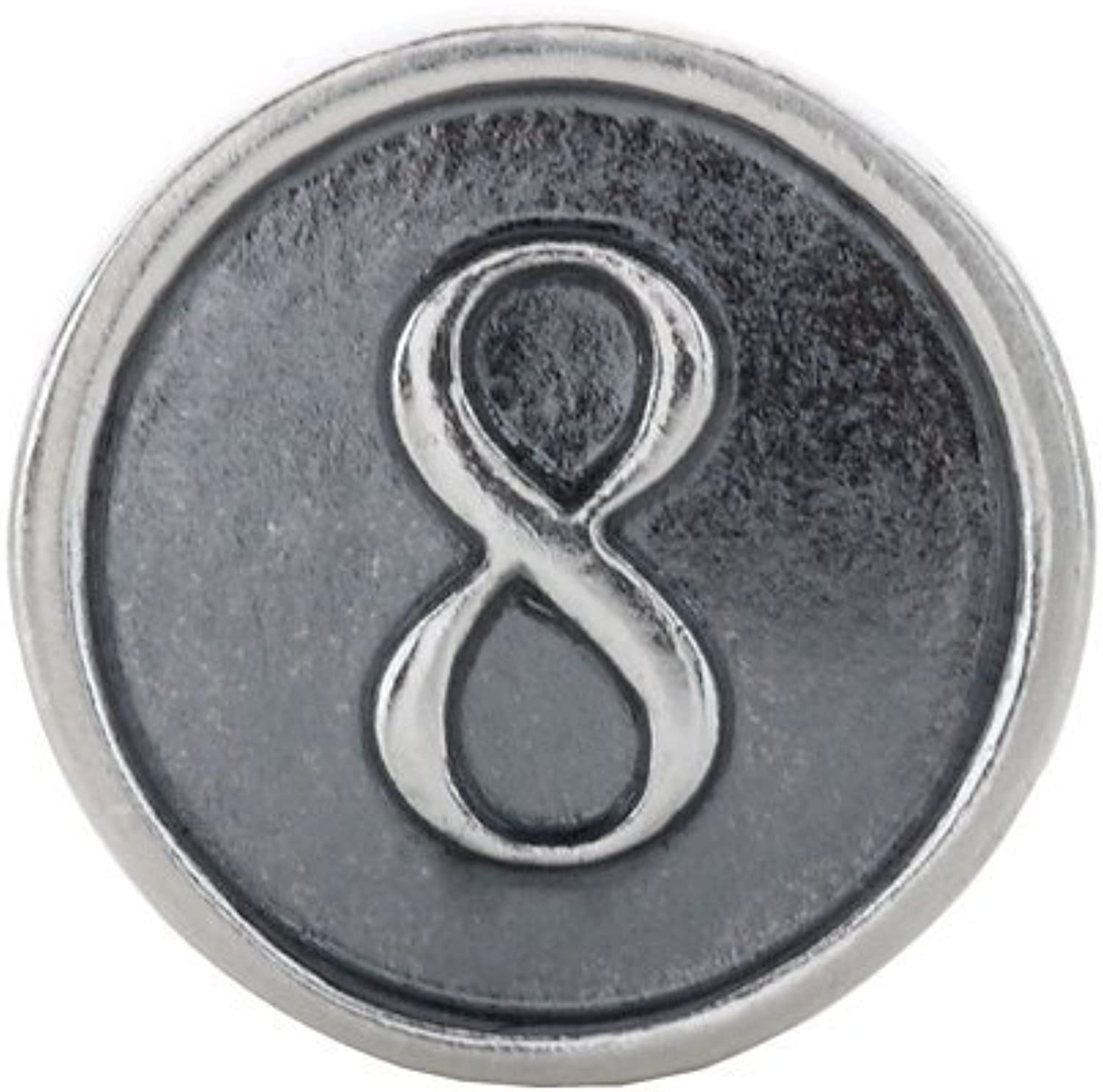 Sterling Silver Numeral #8 Cylinder Bead