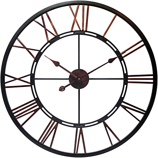 Infinity Instruments Fusion 28-Inch Oversized Decorative Roman Numerals Quartz Movement Large Metal Wall Clock