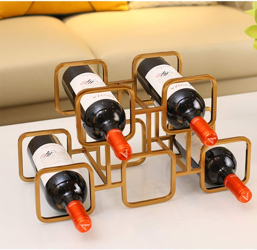 MILECN Tabletop Wine Rack Display Stand Shelves for Kitchen Countertops Pantry Fridge Stores Wine Beer Water Bottles Organizer Gold C