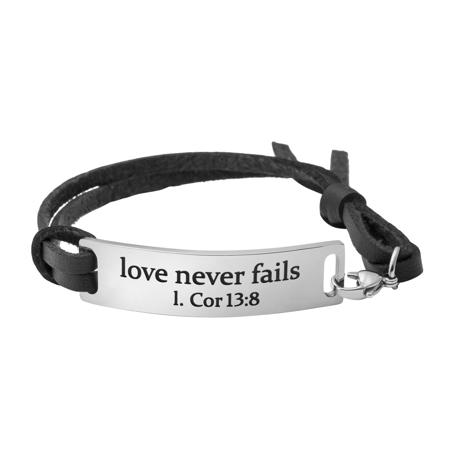 Yiyang Christian Bracelet for Wife Bible Engraved Jewelry Inspirational Mantra Quotes Love Never Fails Black
