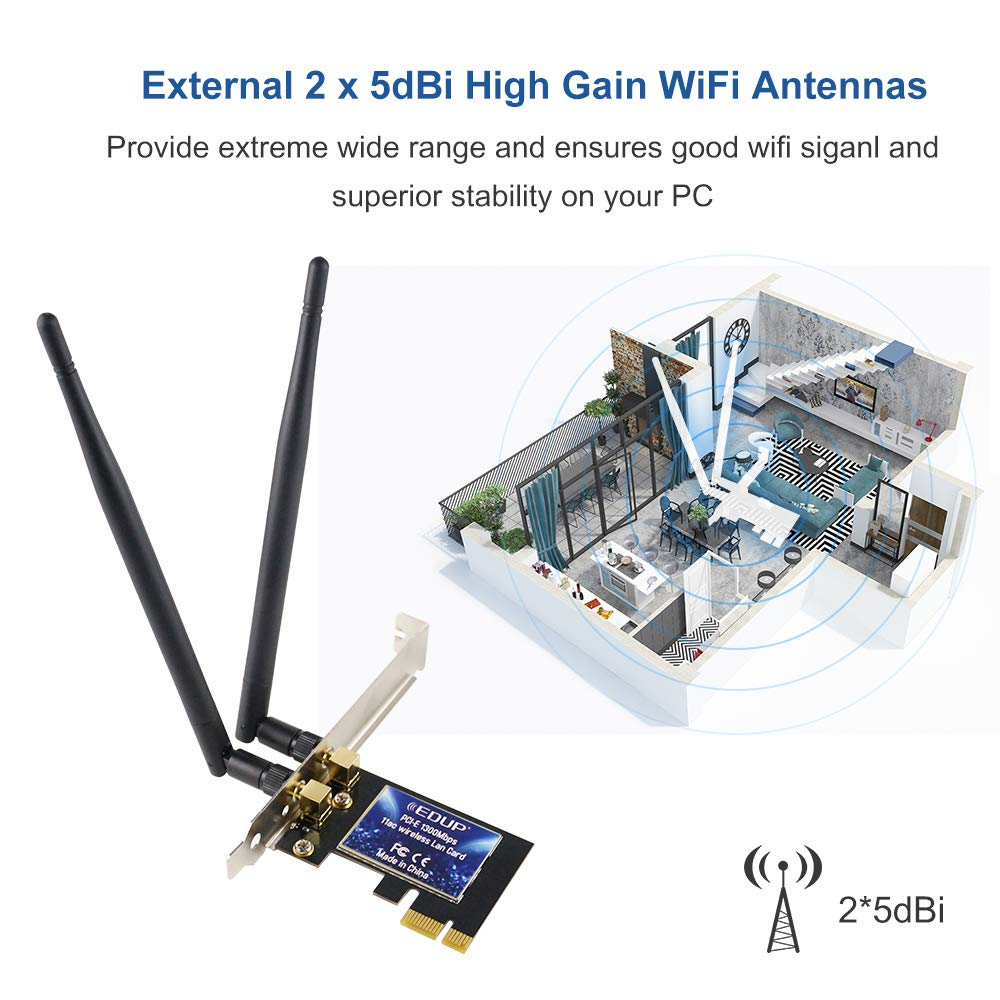 WiFi Card AC1300Mbps EDUP Wireless WiFi PCIe Network Adapter Card 5GHz/2.4GHz Dual Band PCI Express Network Card with 2×6dBi High Gain Antenna for Desktop/PC Gaming