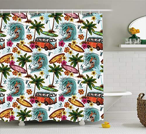 Ambesonne Ocean Decor Shower Curtain, Hawaiian Decor Surfer on Wavy Deep Sea Retro Palms Flowers Surfing Boards Print, Fabric Bathroom Decor Set with Hooks, 70 Inches, White - Room Surfer Decor