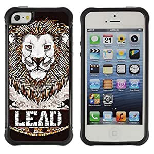 Hybrid Anti-Shock Defend Case for Apple iPhone 5 5S / Awesome Lion LEAD Badge Art