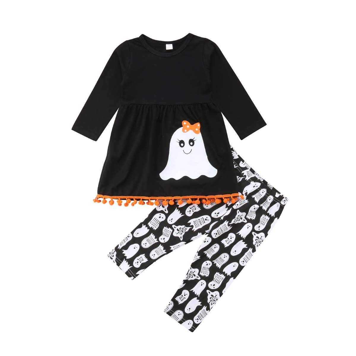 Halloween Toddler Kids Girls Cute Ghost Tassels T-Shirt Tops + Long Leggings Pants 2Pcs Outfits Set Listogether