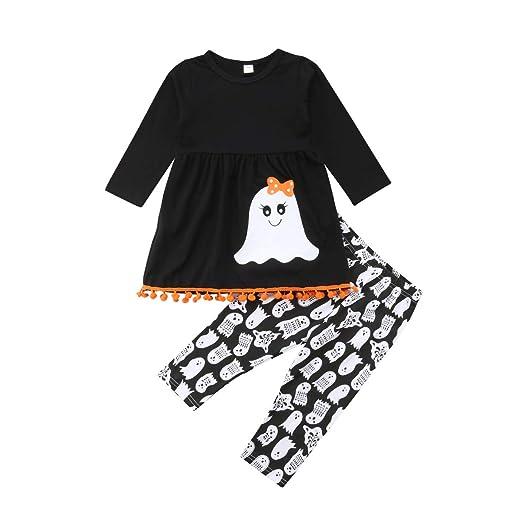halloween toddler kids girls cute ghost tassels t shirt tops long leggings pants 2pcs