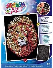 MAMMUT 8041207 - Sequin Art obraz cekinowy lew, obraz wtykowy, zestaw do majsterkowania z ramą ze styropianu, aksamitny szablon obrazów, cekiny, szpilki, instrukcja, dla dzieci od 8 lat