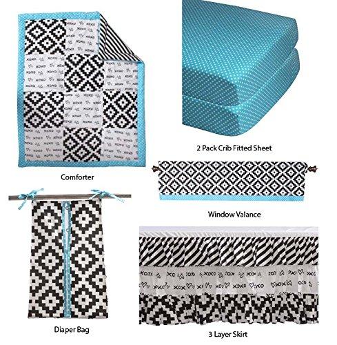 Bacati Love Unisex Patchwork 6 Piece Crib Set, Black/Turq - Patch 6 Piece Crib