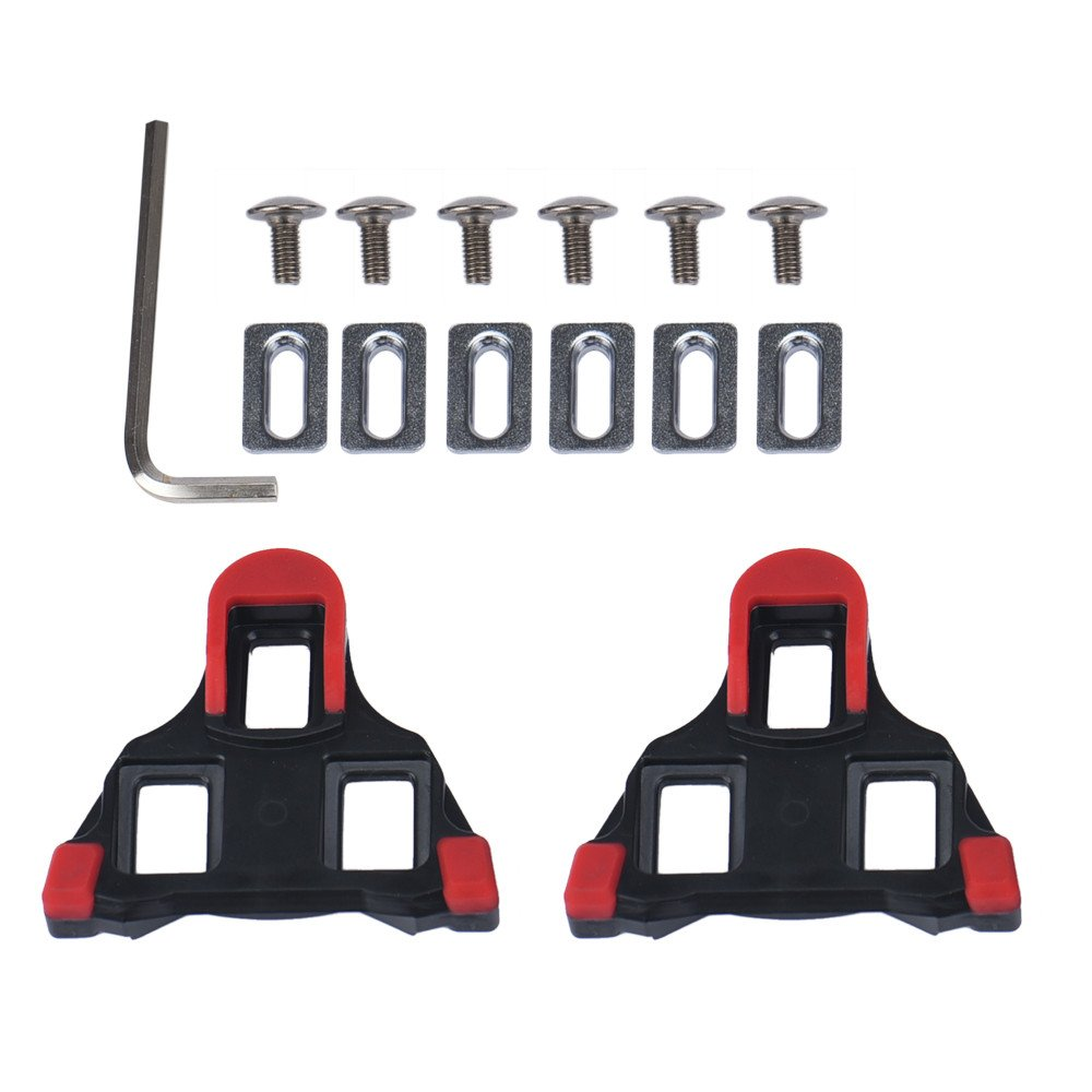 2 Pcs Road Bike Cleats 6 Degree Float Self-Locking Cycling Pedals Cleat for Road Cycling Shoes Cleat Covers Set (Red)